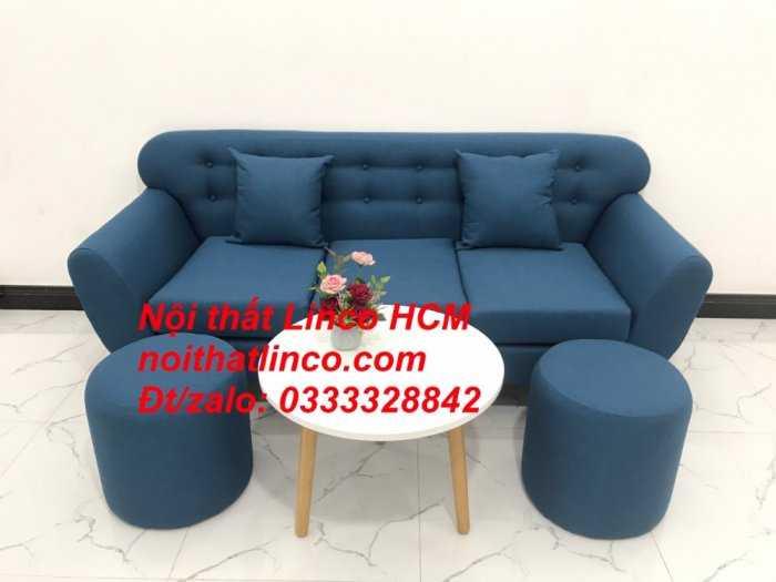 Sofa băng phòng khách, Sofa băng BgTC01 | Sofa băng màu xanh dương, xanh nước biển, xanh da trời dài 1m9 vải bố | Nội thất Linco HCM11