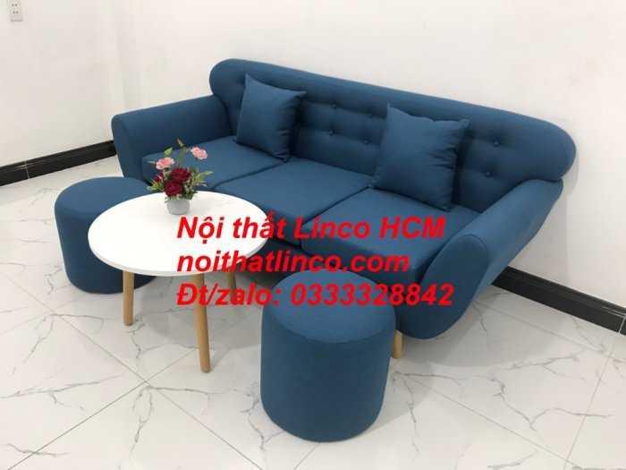 Sofa băng phòng khách, Sofa băng BgTC01 | Sofa băng màu xanh dương, xanh nước biển, xanh da trời dài 1m9 vải bố | Nội thất Linco HCM10