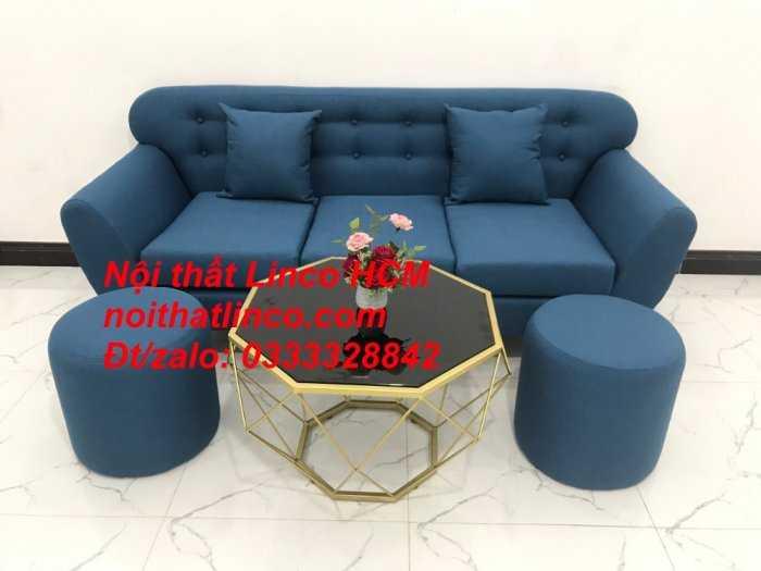Sofa băng phòng khách, Sofa băng BgTC01 | Sofa băng màu xanh dương, xanh nước biển, xanh da trời dài 1m9 vải bố | Nội thất Linco HCM9