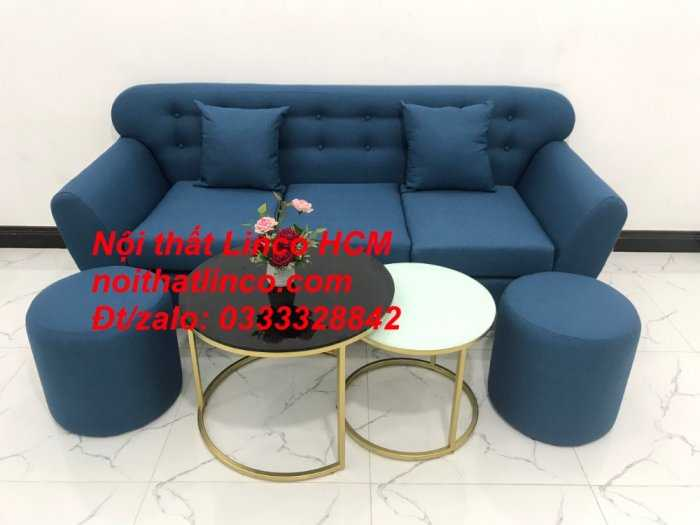 Sofa băng phòng khách, Sofa băng BgTC01 | Sofa băng màu xanh dương, xanh nước biển, xanh da trời dài 1m9 vải bố | Nội thất Linco HCM8