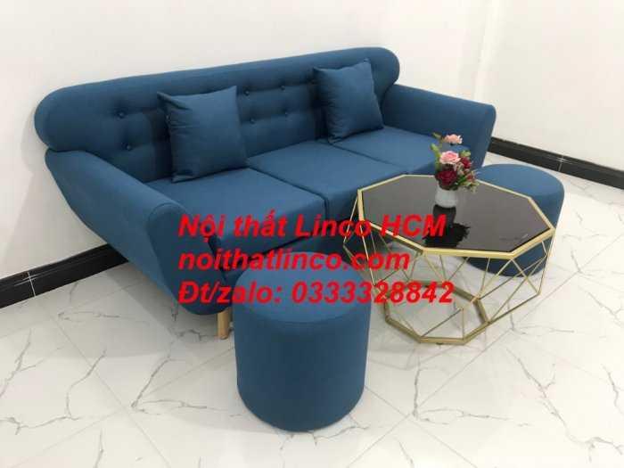 Sofa băng phòng khách, Sofa băng BgTC01 | Sofa băng màu xanh dương, xanh nước biển, xanh da trời dài 1m9 vải bố | Nội thất Linco HCM7