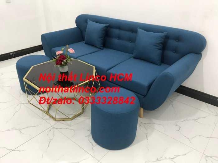 Sofa băng phòng khách, Sofa băng BgTC01 | Sofa băng màu xanh dương, xanh nước biển, xanh da trời dài 1m9 vải bố | Nội thất Linco HCM6