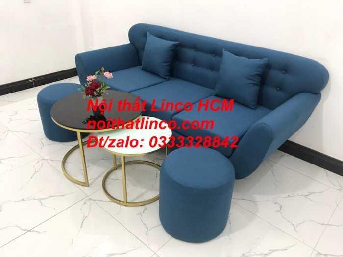 Sofa băng phòng khách, Sofa băng BgTC01 | Sofa băng màu xanh dương, xanh nước biển, xanh da trời dài 1m9 vải bố | Nội thất Linco HCM5