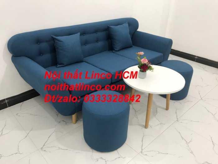 Sofa băng phòng khách, Sofa băng BgTC01 | Sofa băng màu xanh dương, xanh nước biển, xanh da trời dài 1m9 vải bố | Nội thất Linco HCM4