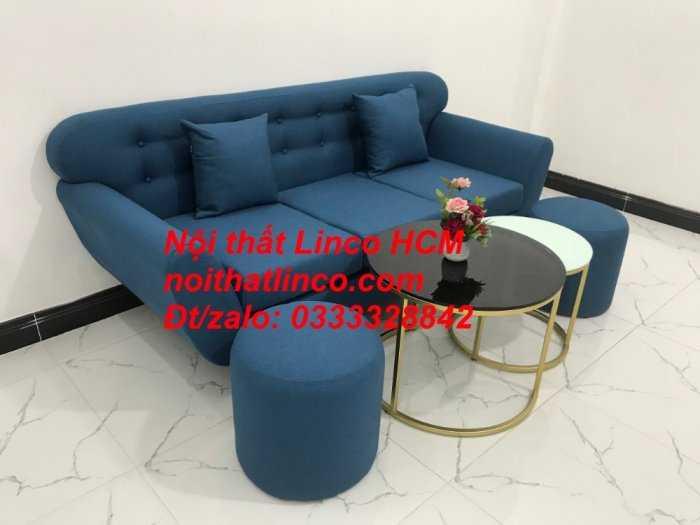 Sofa băng phòng khách, Sofa băng BgTC01 | Sofa băng màu xanh dương, xanh nước biển, xanh da trời dài 1m9 vải bố | Nội thất Linco HCM3