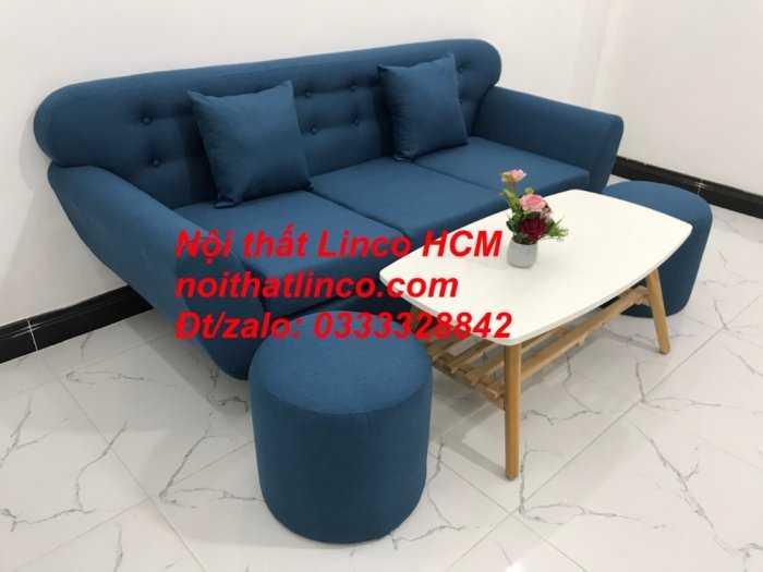 Sofa băng phòng khách, Sofa băng BgTC01 | Sofa băng màu xanh dương, xanh nước biển, xanh da trời dài 1m9 vải bố | Nội thất Linco HCM2