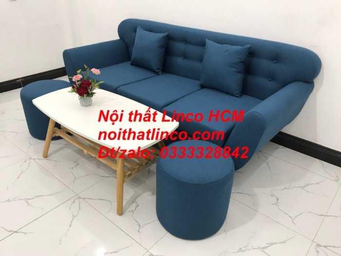 Sofa băng phòng khách, Sofa băng BgTC01 | Sofa băng màu xanh dương, xanh nước biển, xanh da trời dài 1m9 vải bố | Nội thất Linco HCM1