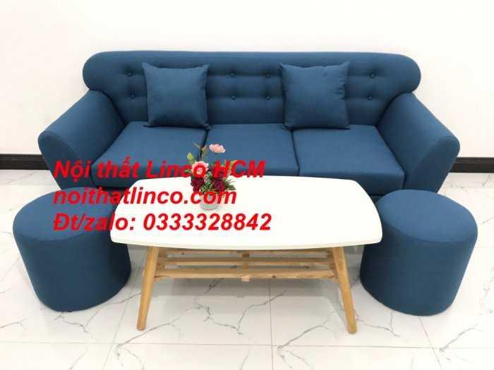 Sofa băng phòng khách, Sofa băng BgTC01 | Sofa băng màu xanh dương, xanh nước biển, xanh da trời dài 1m9 vải bố | Nội thất Linco HCM0