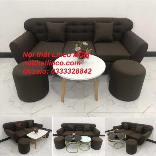 Sofa băng BgTC03 | Sofa băng màu nâu cafe đậm | Ghế sofa văng dài 1m9 vải bố | Nội thất Linco HCM Tphcm Sài Gòn12