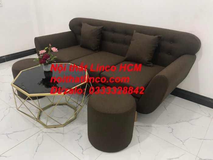 Sofa băng BgTC03 | Sofa băng màu nâu cafe đậm | Ghế sofa văng dài 1m9 vải bố | Nội thất Linco HCM Tphcm Sài Gòn11