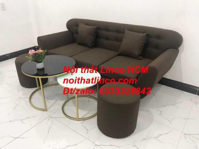 Sofa băng BgTC03 | Sofa băng màu nâu cafe đậm | Ghế sofa văng dài 1m9 vải bố | Nội thất Linco HCM Tphcm Sài Gòn9