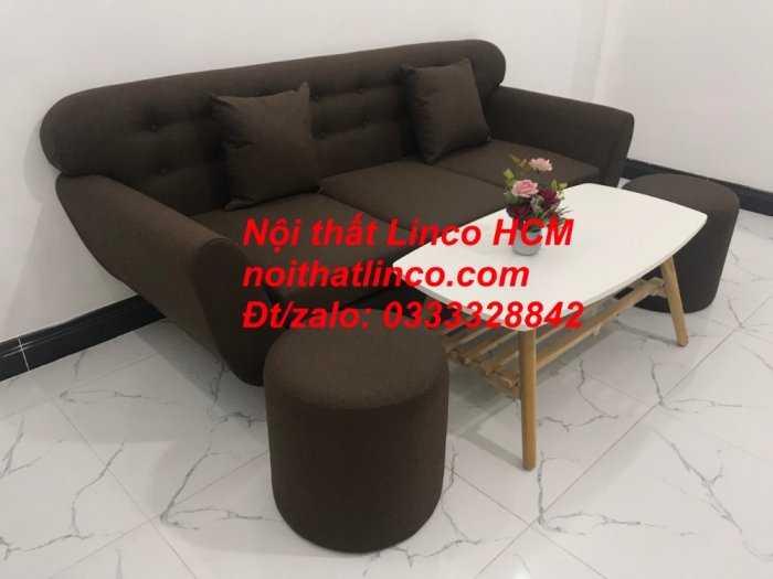 Sofa băng BgTC03 | Sofa băng màu nâu cafe đậm | Ghế sofa văng dài 1m9 vải bố | Nội thất Linco HCM Tphcm Sài Gòn8