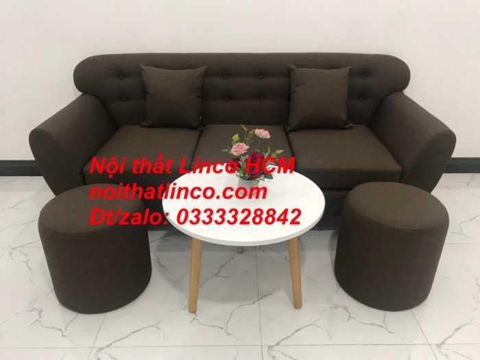Sofa băng BgTC03 | Sofa băng màu nâu cafe đậm | Ghế sofa văng dài 1m9 vải bố | Nội thất Linco HCM Tphcm Sài Gòn7
