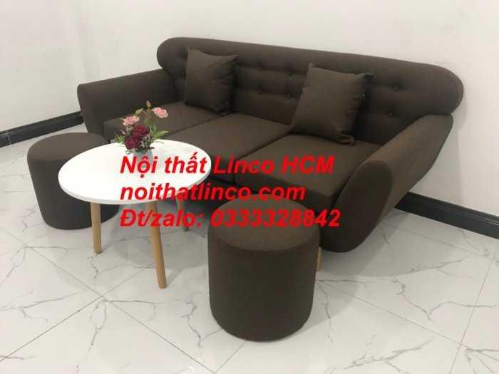 Sofa băng BgTC03 | Sofa băng màu nâu cafe đậm | Ghế sofa văng dài 1m9 vải bố | Nội thất Linco HCM Tphcm Sài Gòn6