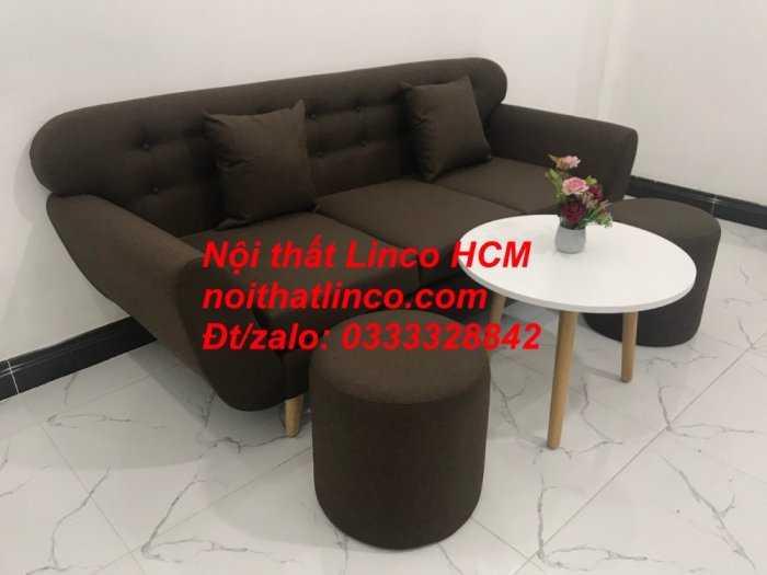 Sofa băng BgTC03 | Sofa băng màu nâu cafe đậm | Ghế sofa văng dài 1m9 vải bố | Nội thất Linco HCM Tphcm Sài Gòn5