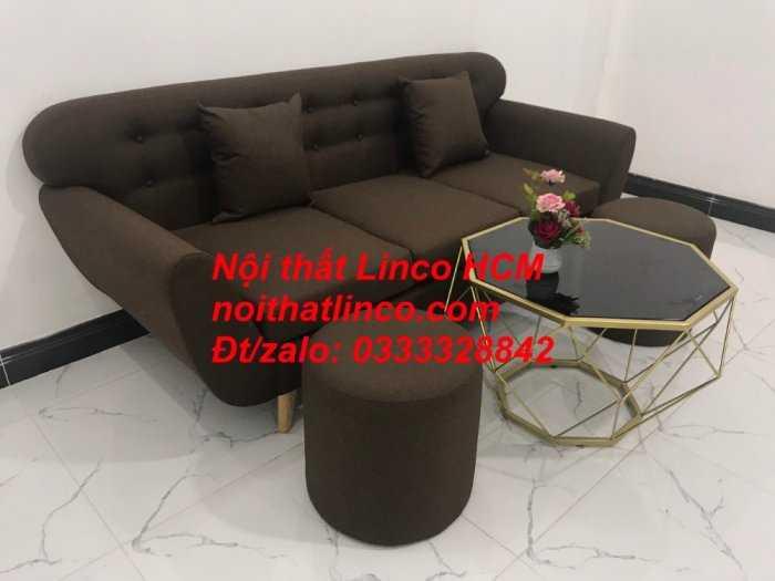Sofa băng BgTC03 | Sofa băng màu nâu cafe đậm | Ghế sofa văng dài 1m9 vải bố | Nội thất Linco HCM Tphcm Sài Gòn4
