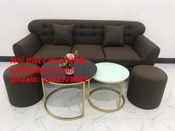 Sofa băng BgTC03 | Sofa băng màu nâu cafe đậm | Ghế sofa văng dài 1m9 vải bố | Nội thất Linco HCM Tphcm Sài Gòn3
