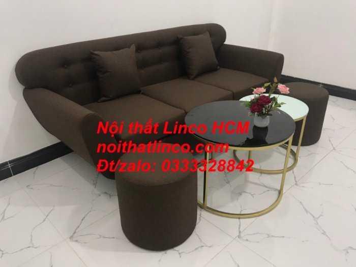 Sofa băng BgTC03 | Sofa băng màu nâu cafe đậm | Ghế sofa văng dài 1m9 vải bố | Nội thất Linco HCM Tphcm Sài Gòn2