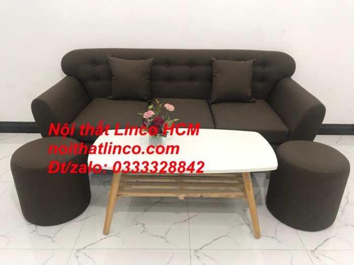 Sofa băng BgTC03 | Sofa băng màu nâu cafe đậm | Ghế sofa văng dài 1m9 vải bố | Nội thất Linco HCM Tphcm Sài Gòn1