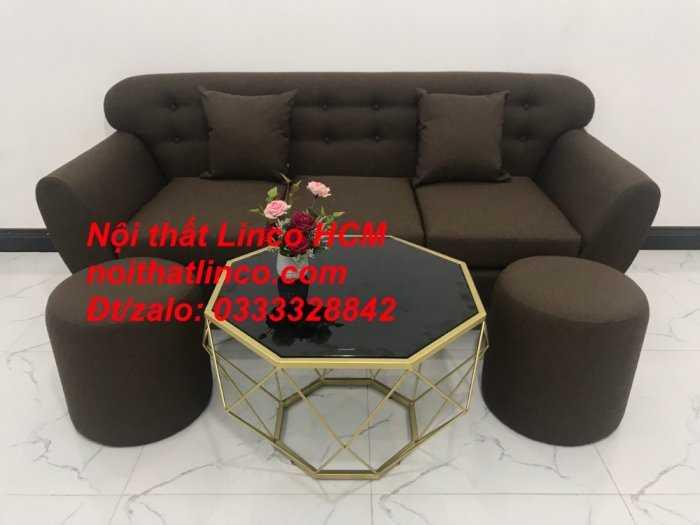 Sofa băng BgTC03 | Sofa băng màu nâu cafe đậm | Ghế sofa văng dài 1m9 vải bố | Nội thất Linco HCM Tphcm Sài Gòn0