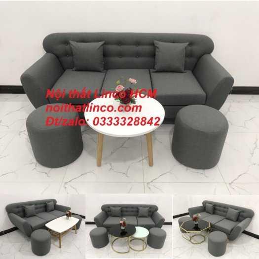 Sofa băng BgTC02 | Sofa băng màu xám lông chuột, xám đậm, xám đen, xám than | Sofa văng dài 1m9 vải bố | Nội thất Linco HCM12