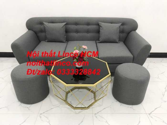 Sofa băng BgTC02 | Sofa băng màu xám lông chuột, xám đậm, xám đen, xám than | Sofa văng dài 1m9 vải bố | Nội thất Linco HCM11