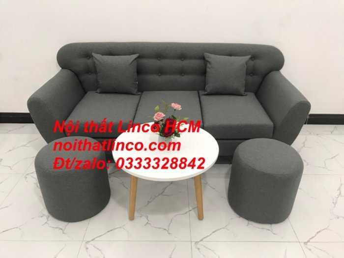 Sofa băng BgTC02 | Sofa băng màu xám lông chuột, xám đậm, xám đen, xám than | Sofa văng dài 1m9 vải bố | Nội thất Linco HCM10