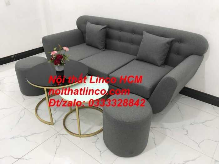 Sofa băng BgTC02 | Sofa băng màu xám lông chuột, xám đậm, xám đen, xám than | Sofa văng dài 1m9 vải bố | Nội thất Linco HCM9