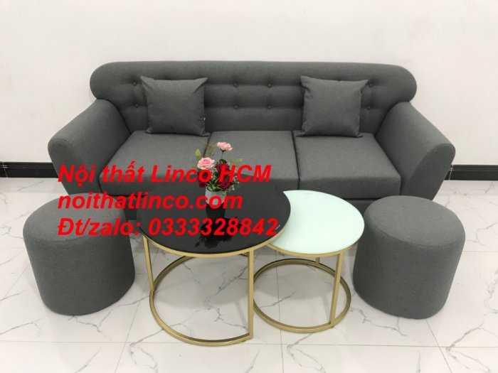 Sofa băng BgTC02 | Sofa băng màu xám lông chuột, xám đậm, xám đen, xám than | Sofa văng dài 1m9 vải bố | Nội thất Linco HCM8