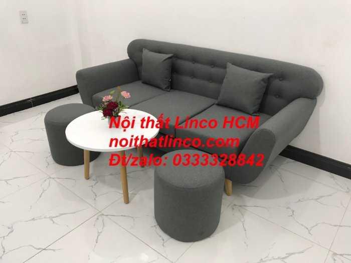 Sofa băng BgTC02 | Sofa băng màu xám lông chuột, xám đậm, xám đen, xám than | Sofa văng dài 1m9 vải bố | Nội thất Linco HCM7