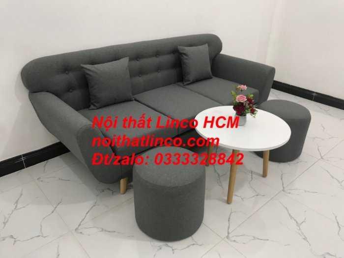 Sofa băng BgTC02 | Sofa băng màu xám lông chuột, xám đậm, xám đen, xám than | Sofa văng dài 1m9 vải bố | Nội thất Linco HCM6