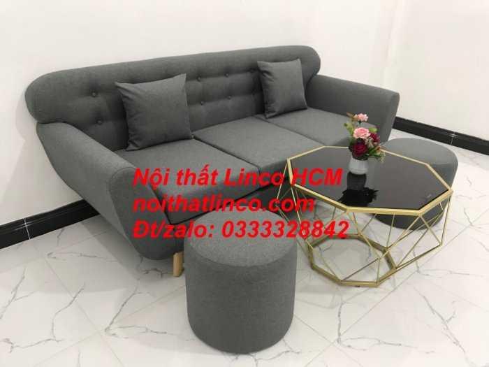 Sofa băng BgTC02 | Sofa băng màu xám lông chuột, xám đậm, xám đen, xám than | Sofa văng dài 1m9 vải bố | Nội thất Linco HCM5