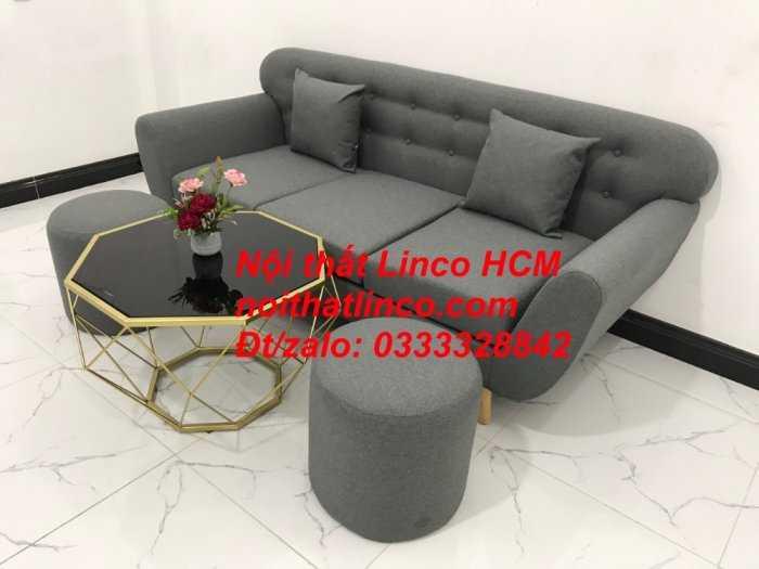 Sofa băng BgTC02 | Sofa băng màu xám lông chuột, xám đậm, xám đen, xám than | Sofa văng dài 1m9 vải bố | Nội thất Linco HCM4