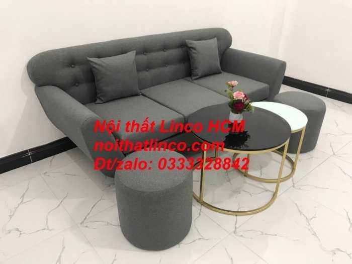 Sofa băng BgTC02 | Sofa băng màu xám lông chuột, xám đậm, xám đen, xám than | Sofa văng dài 1m9 vải bố | Nội thất Linco HCM3