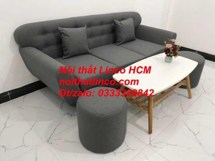 Sofa băng BgTC02 | Sofa băng màu xám lông chuột, xám đậm, xám đen, xám than | Sofa văng dài 1m9 vải bố | Nội thất Linco HCM2