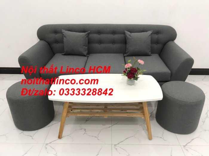 Sofa băng BgTC02 | Sofa băng màu xám lông chuột, xám đậm, xám đen, xám than | Sofa văng dài 1m9 vải bố | Nội thất Linco HCM1