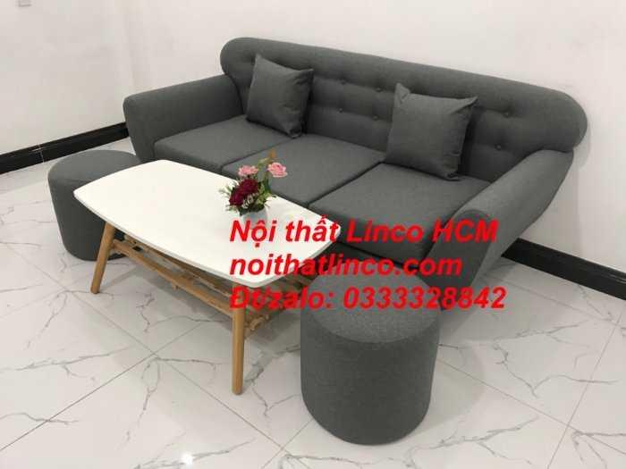 Sofa băng BgTC02 | Sofa băng màu xám lông chuột, xám đậm, xám đen, xám than | Sofa văng dài 1m9 vải bố | Nội thất Linco HCM0