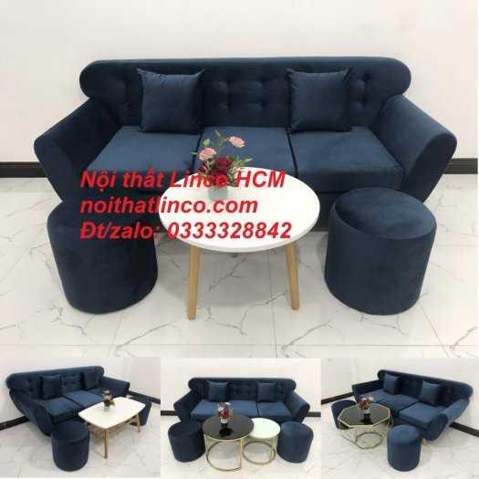 Sofa băng BgTC04 | Sofa băng giá rẻ | Ghế sofa băng xanh đậm vải nhung Nội thất Linco HCM12