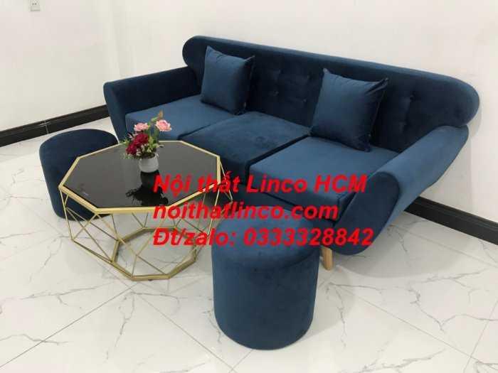 Sofa băng BgTC04 | Sofa băng giá rẻ | Ghế sofa băng xanh đậm vải nhung Nội thất Linco HCM11