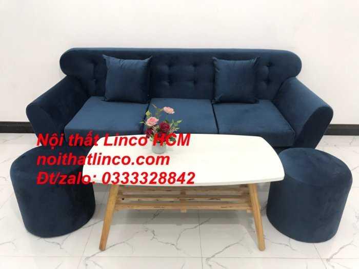Sofa băng BgTC04 | Sofa băng giá rẻ | Ghế sofa băng xanh đậm vải nhung Nội thất Linco HCM10