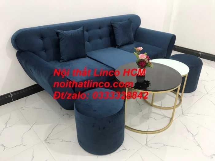 Sofa băng BgTC04 | Sofa băng giá rẻ | Ghế sofa băng xanh đậm vải nhung Nội thất Linco HCM9