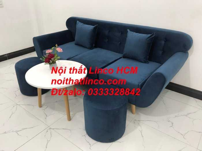 Sofa băng BgTC04 | Sofa băng giá rẻ | Ghế sofa băng xanh đậm vải nhung Nội thất Linco HCM8