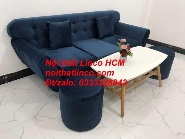 Sofa băng BgTC04 | Sofa băng giá rẻ | Ghế sofa băng xanh đậm vải nhung Nội thất Linco HCM7