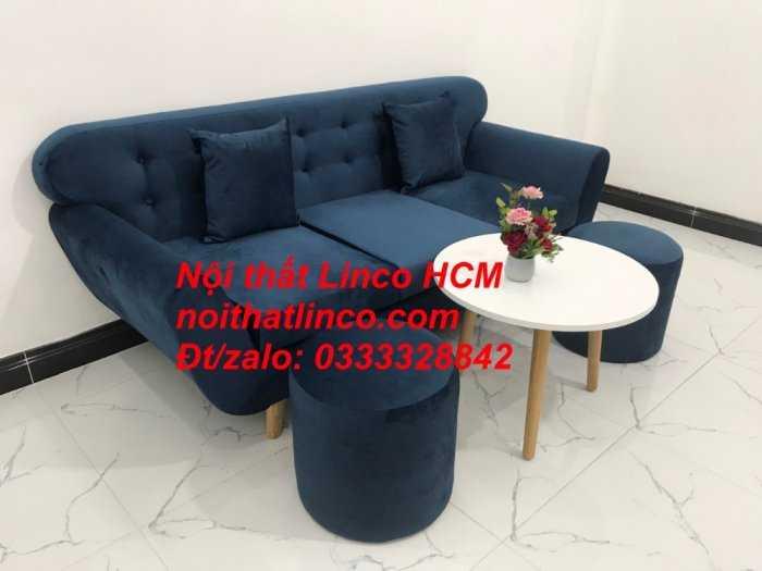 Sofa băng BgTC04 | Sofa băng giá rẻ | Ghế sofa băng xanh đậm vải nhung Nội thất Linco HCM6