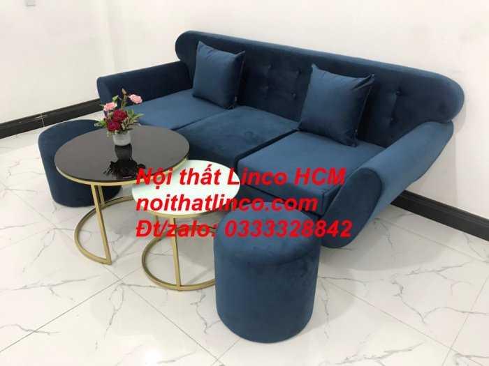 Sofa băng BgTC04 | Sofa băng giá rẻ | Ghế sofa băng xanh đậm vải nhung Nội thất Linco HCM5