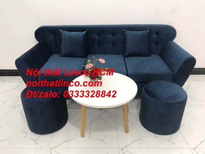 Sofa băng BgTC04 | Sofa băng giá rẻ | Ghế sofa băng xanh đậm vải nhung Nội thất Linco HCM4