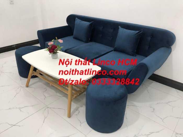 Sofa băng BgTC04 | Sofa băng giá rẻ | Ghế sofa băng xanh đậm vải nhung Nội thất Linco HCM3
