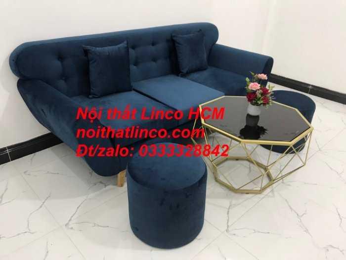 Sofa băng BgTC04 | Sofa băng giá rẻ | Ghế sofa băng xanh đậm vải nhung Nội thất Linco HCM2
