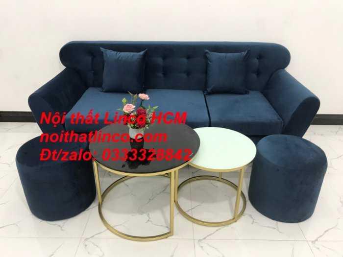Sofa băng BgTC04 | Sofa băng giá rẻ | Ghế sofa băng xanh đậm vải nhung Nội thất Linco HCM1