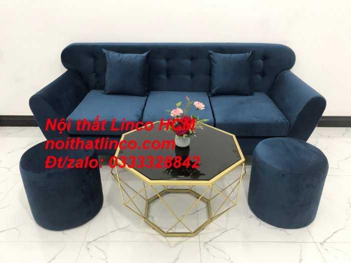 Sofa băng BgTC04 | Sofa băng giá rẻ | Ghế sofa băng xanh đậm vải nhung Nội thất Linco HCM0